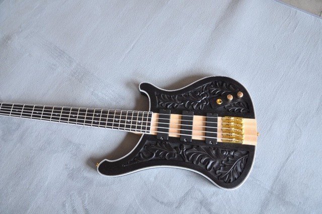 Engraved 5 string bass guitar  2