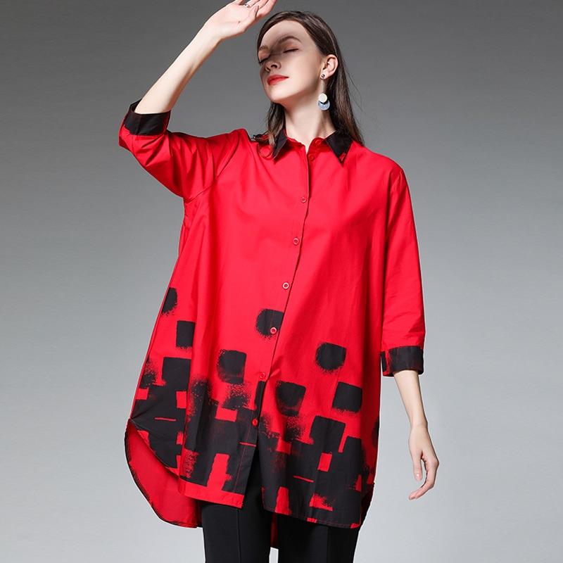 Cotone White E Femmina Camicetta red Femminile Più Grandi Bluse black Il Mezza Bianco Manica Di 2019 4xl Formato Nera Donne Camicette Estate Abbigliamento Dimensioni qx1WwEqpP6
