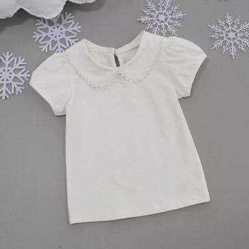 Summer Cotton White Short Sleeve Girl Top