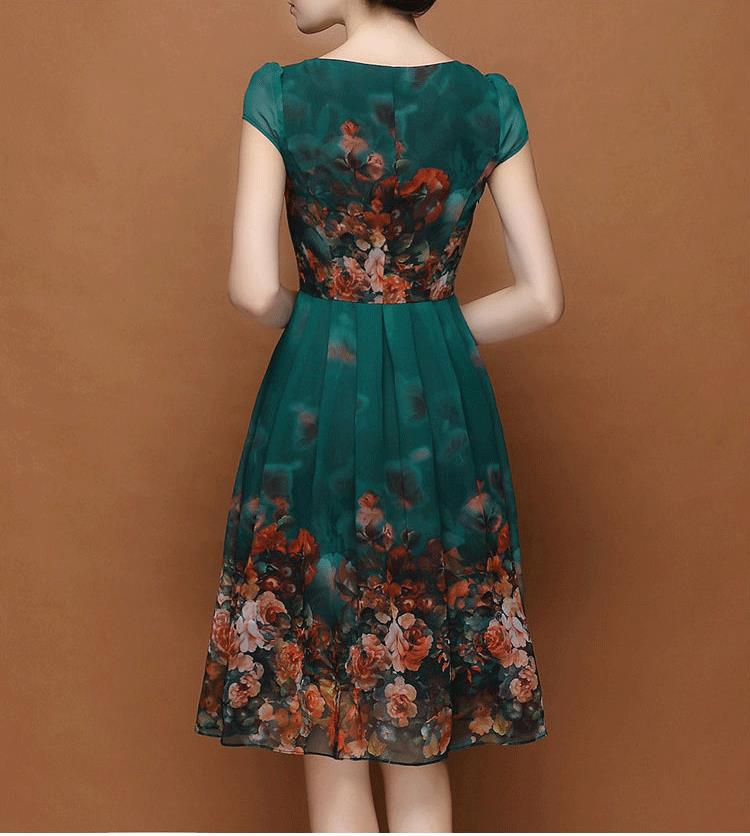 New Summer style2016 temperament participants green chiffon printed long  casual dress plus size short sleeve party dresses 6003-in Dresses from  Women s ... 20ea74f5c8dc
