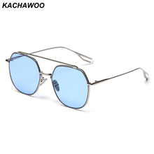 kachawoo women square sunglasses metal blue brown colored su