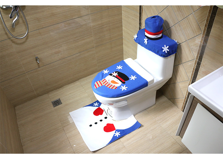 Christmas Scene Decorations The New Embroidery Blue Snowman Toilet
