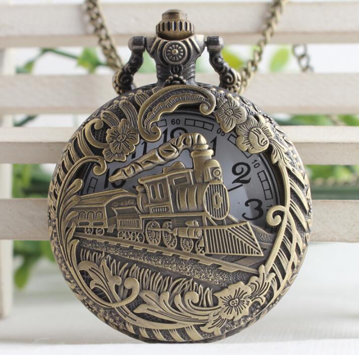 Vintage Bronze Hollow Train Locomotive Steampunk Quartz Pocket Watch Women Men Necklace Pendant With Chain Birthday Gift Watch