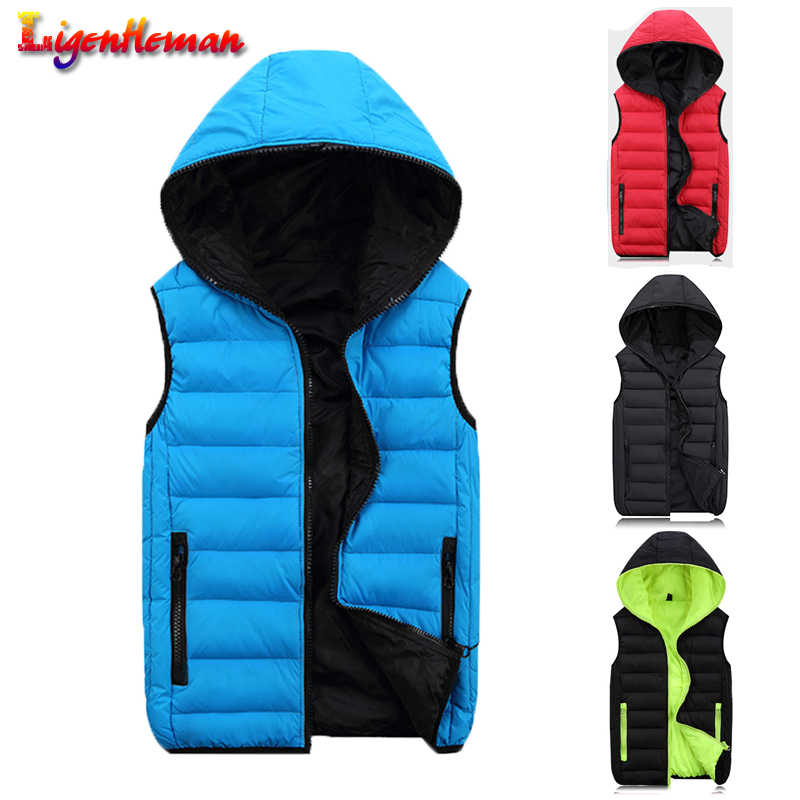Men Sleeveless Jacket Casual Coats Hooded Waistcoat Mens Work Vests Winter Vest Light Warm Spring For Fashion Men Plus Size 4XL