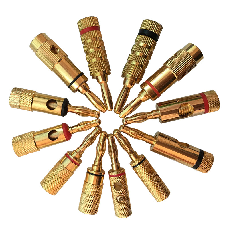 24K Banana Plug Connector Gold Plated Pure Copper Zinc Alloy Monster Audio Power Speaker Plugs Connector