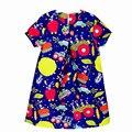 2017 Verano de la Pintada de impresión Baby Girl Princess Dress 2-10 Años Los Niños Ropa de Niños Ropa de Fiesta Para Las Niñas visten