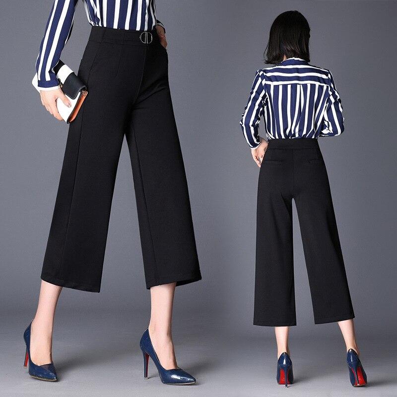 ce5cd5e7dc4a 2019 primavera y verano nuevos nueve pantalones de pierna ancha cintura  alta Mujer de cintura ...