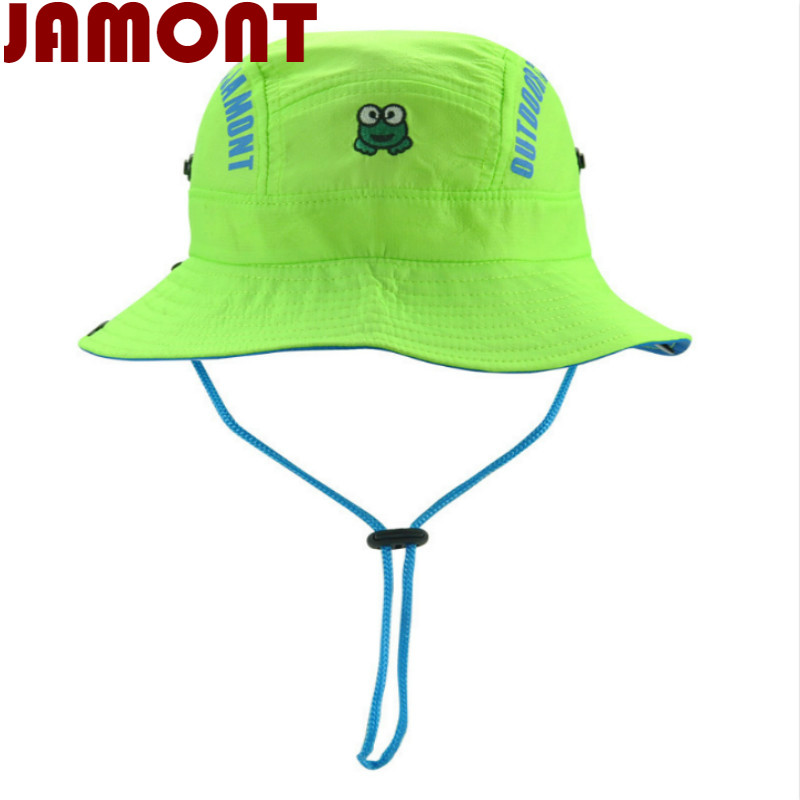 JAMONT cartoon children summer hat kid Quick dry bucket hat wide brim  fishing cap for girl boy beach sun panama with string e9ad8f26f4e