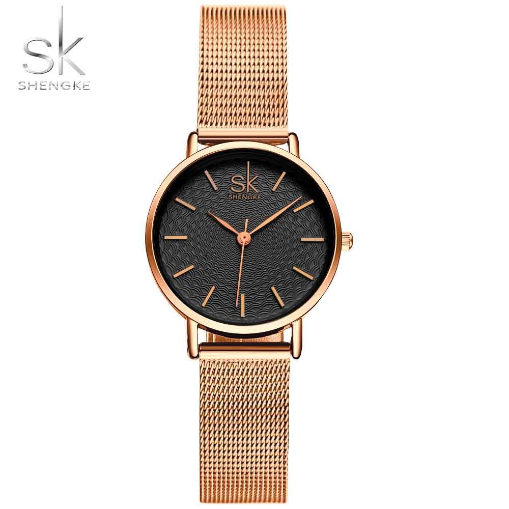 SK Watches Women 2019 Fashion Stainless Steel Band Ladies Golden Wrist Watch MILAN Street Snap Luxury Female Jewelry shengke