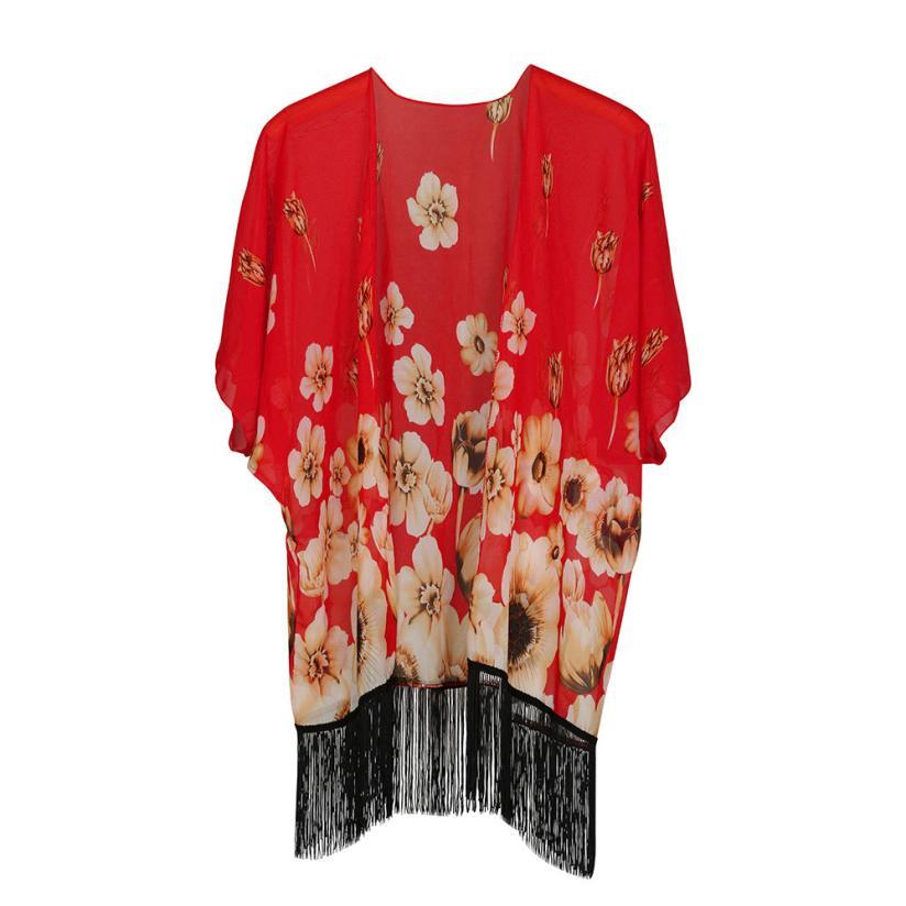 2017 New Shawl printed chiffon tassel bat sleeves shawl sunscreen beach towel cloak female ladies tassel shawl