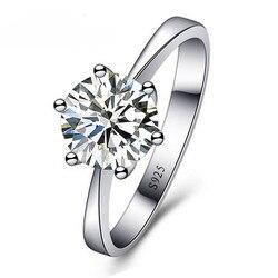 Romantik düğün parti yüzük takı parlak kübik zirkon yüzük kadınlar için 925 ayar gümüş yüzük aksesuarları