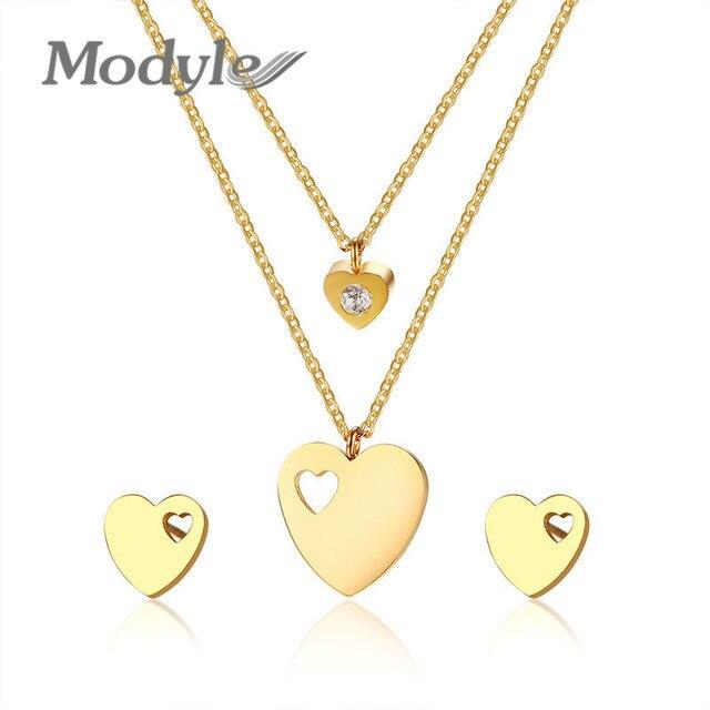 Modyle אלגנטי לב אהבת תכשיטי סטים לנשים זהב צבע נירוסטה שרשרת ועגילים נשי תכשיטי סט