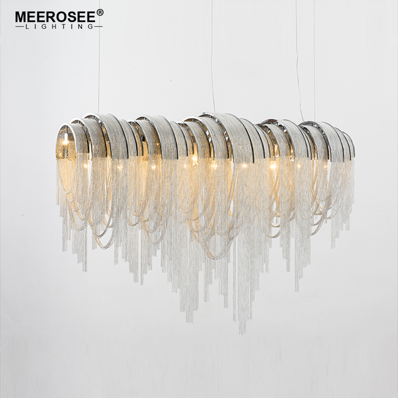 Vintage Chandelier Aluminum Silver Chain modern hanglamp luminaria Drop Lustre for Hotel Project Home Decor