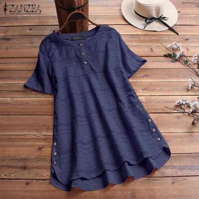 Women's Lace Blouse Fashion Embroidery Tops 2019 ZANZEA Button Short Sleeve Shirts Female Asymmetrical Blusa Plus Size Tunic 5XL 8