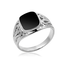 White Gold Plated Square Black Signet Cut Out Filligree Vintage Ring For Mens Wedding Jewellery Jewelry bijoux