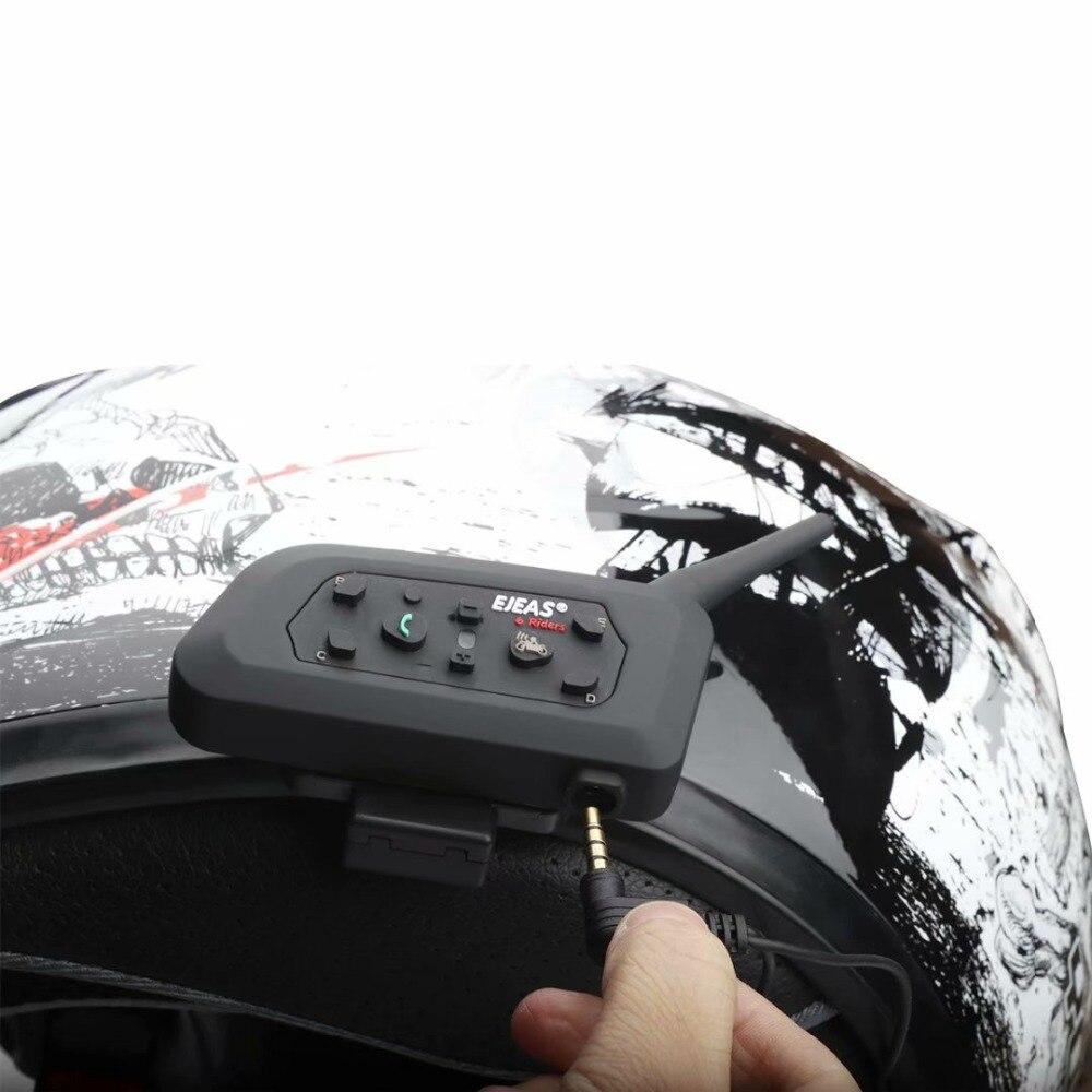 Image 4 - 2pcs EJEAS V6 Pro Intercomunicador para Capacete Bluetooth Helmet  Headset 1.2km IP65 Music Waterproof 6 Riders InterphoneHelmet  Headsets