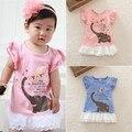 Novos bonitos do bebê meninas elefante padrão plissado Bay vestidos do bebê meninas vestido 0-3Y