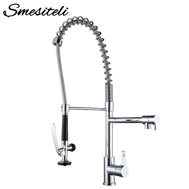 Wholesale Promotional High Quality Swivel Single Handle Kitchen Faucet Chrome Pull Down Spring Rotation Kitchen Sink Mixer Tap