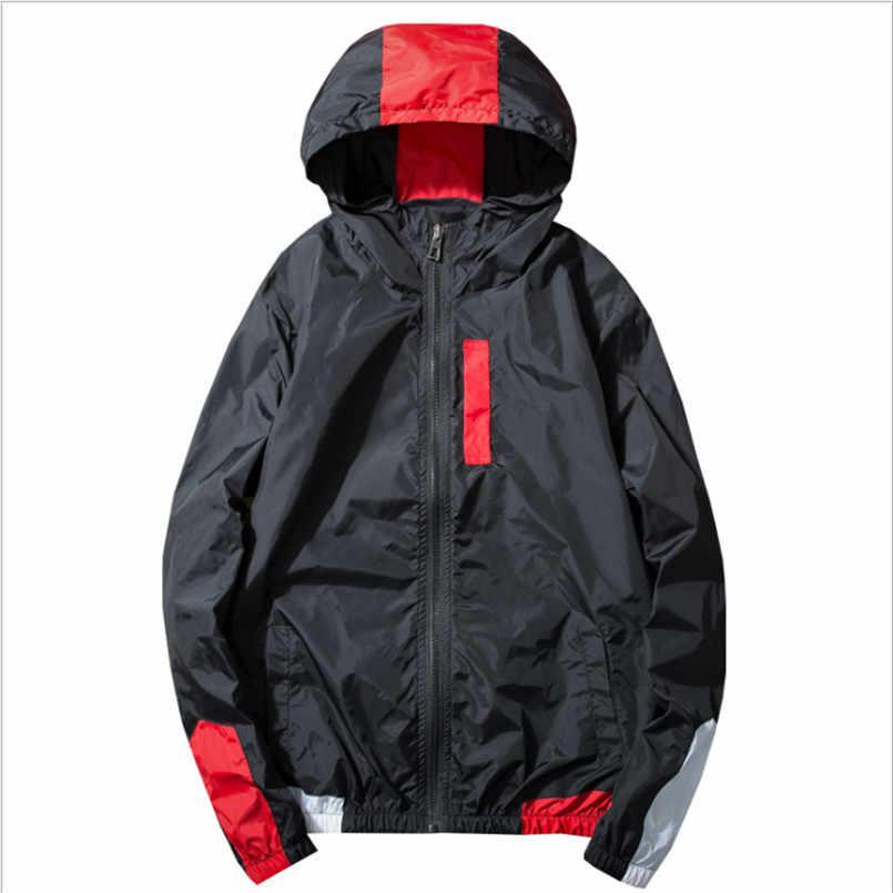 Nouveau 2018 Patchwork noir pull veste mode survêtement décontracté manteau hommes coupe-vent Hip Hop Streetwear à capuche vestes hommes
