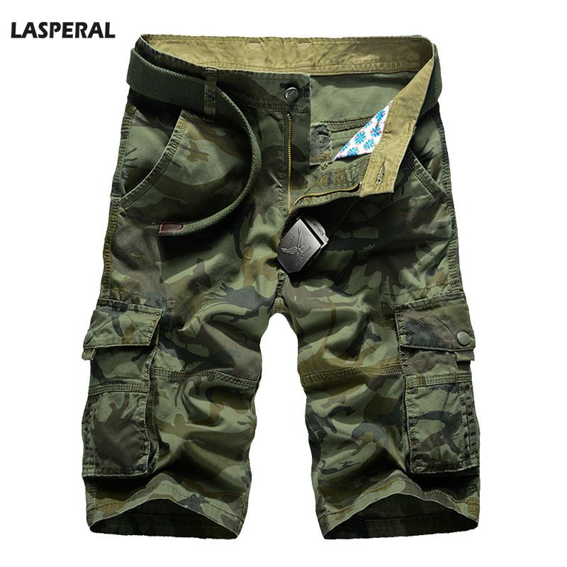 LASPERAL Summer Casual Shorts Men Camouflage Print Loose Mens Shorts Multi-pocket without Belt Casual Mens Cargo Short Homme