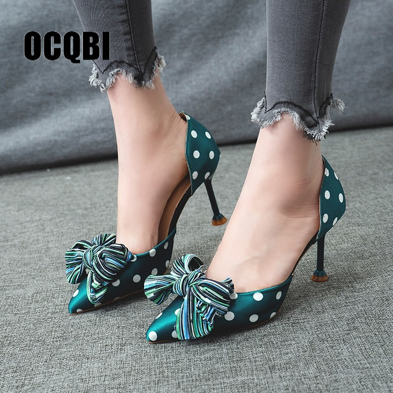 Elegant Girls' Cotton Farbic Sandals High Heels Women Bowknot Polka Dots Summer Female Sexy Stiletto High Heels Bridesmaid Shoes