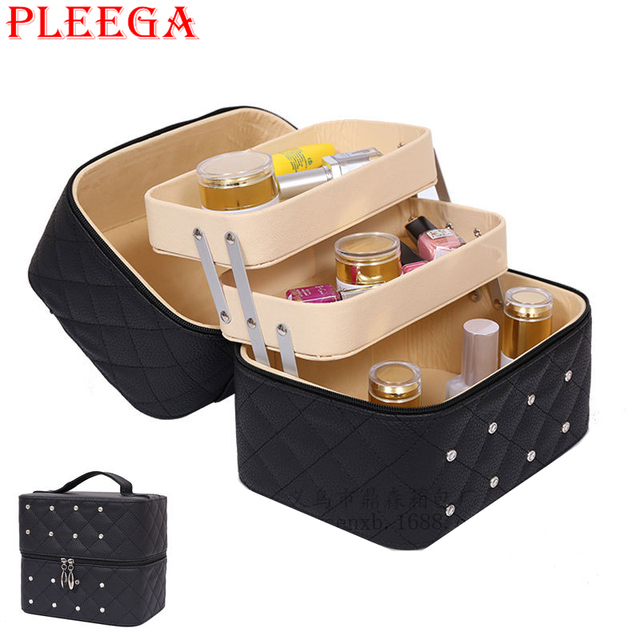 PLEEGA Brand High Capacity Women Cosmetic Box Portable Female Cosmetic Jewelry Organizers Bag Travel Makeup Bag Makeup Box