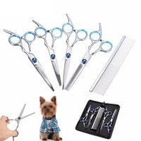 Professional Pet Grooming Scissors Set Straight Thinning Curved Scissors 5pcs Set For Dog Cat Grooming