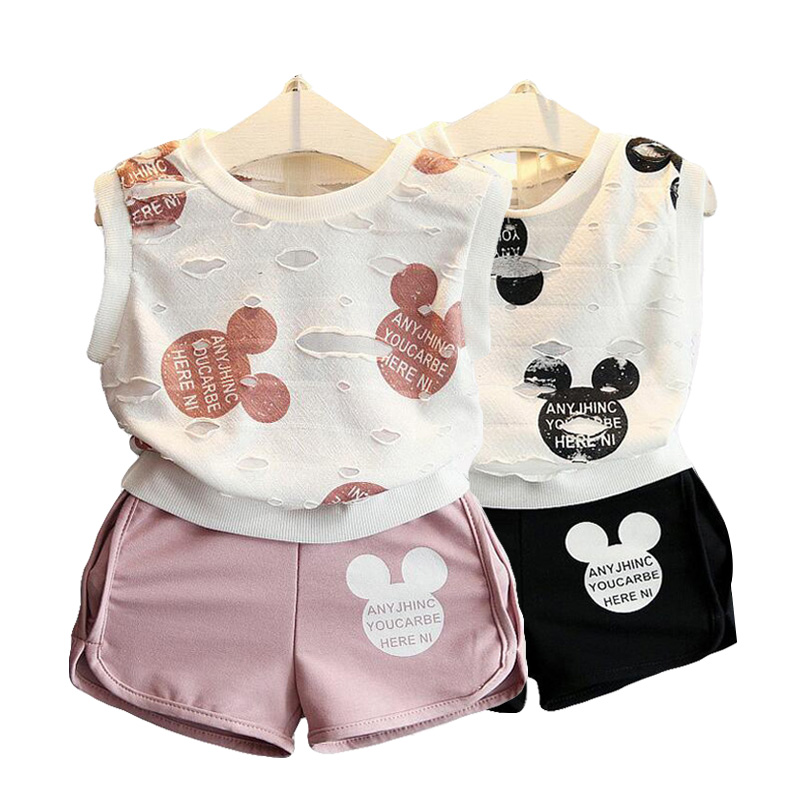 2019 Summer time Women Clothes Set Quick Sleeve Cotton Mickey Minnie Clothes Units For Women Shirt And Pants 2Pcs Youngsters Clothes Clothes Units, Low cost Clothes Units, 2019 Summer...
