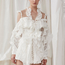 High Quality 2018 Vintage White Lace Ruffle Romper Bodysuit Long Sleeve Women Playsuit