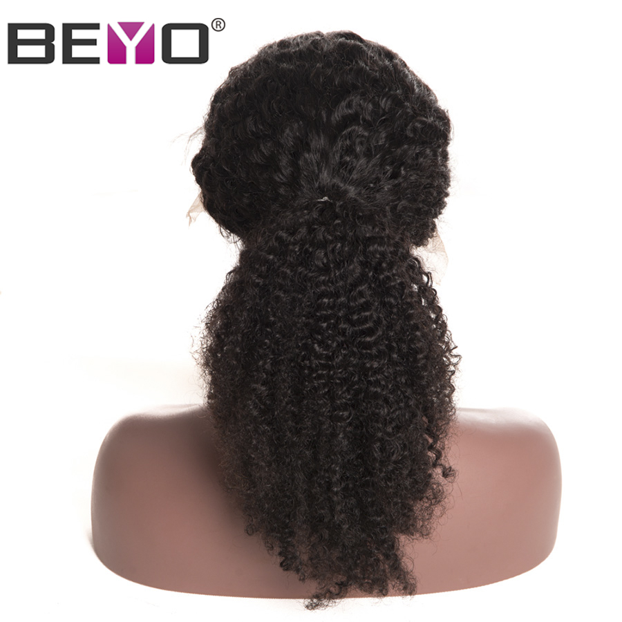 Beyo Peruvian Kinky Curly Human Hair Wigs 360 Lace Frontal Wig For Women Pre Plucked With Baby Hair 150/180 Density Remy Hair ...