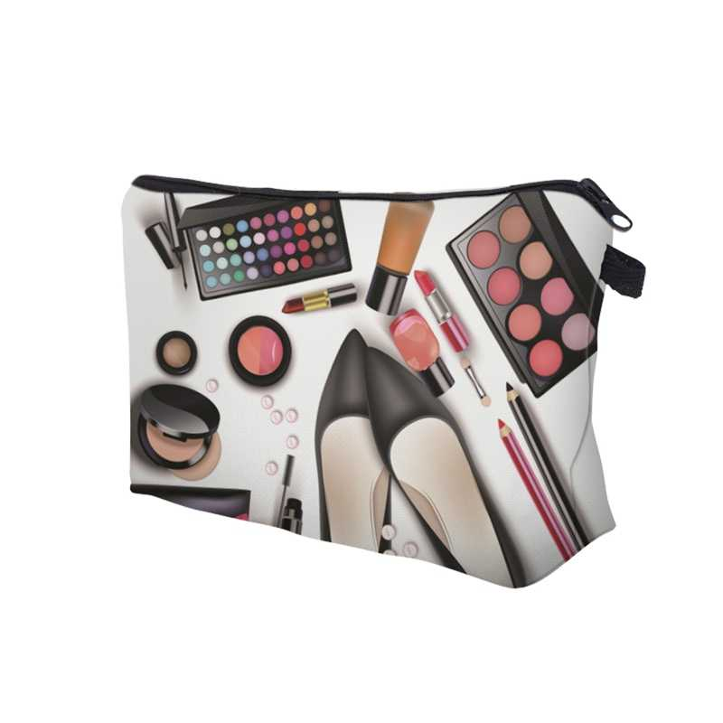 Hot sale Women Lady Travel Cosmetics Bags Zipped 3D Shoes Eyeshadow Lipstick Printing Organizer Pouch Storage Makeup Bag Gifts