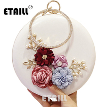 ETAILL Circular Flower Women PU Party Bag Ladies Wedding Chain Shoulder High Quality Handmade Female Evening Clutches