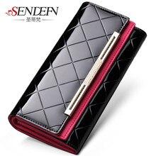 Sendefn lady party clutch leather large capacity long card holder bag women's wallet of woman designer brand portfolios purse