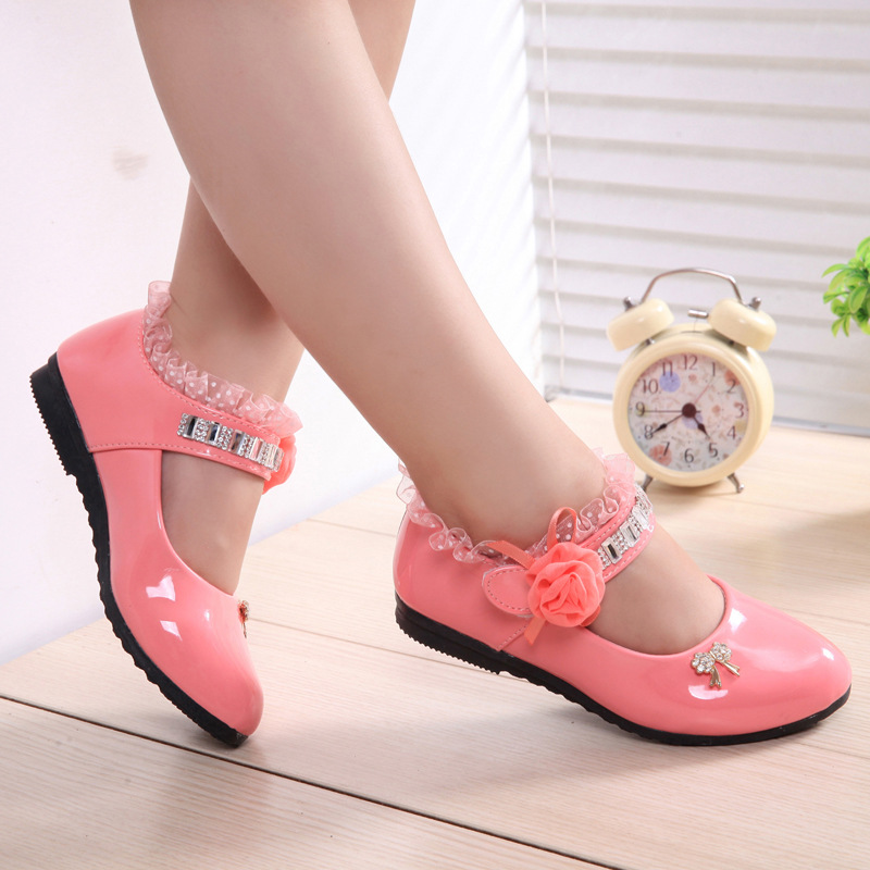 f692b50b69 Hot Spring Rhinestone Big Girls Shoes with Rose Flower Fashion Princess  Slip on Children Flat Shoes for Girls Shoes Size 6 13 on Aliexpress.com    ...
