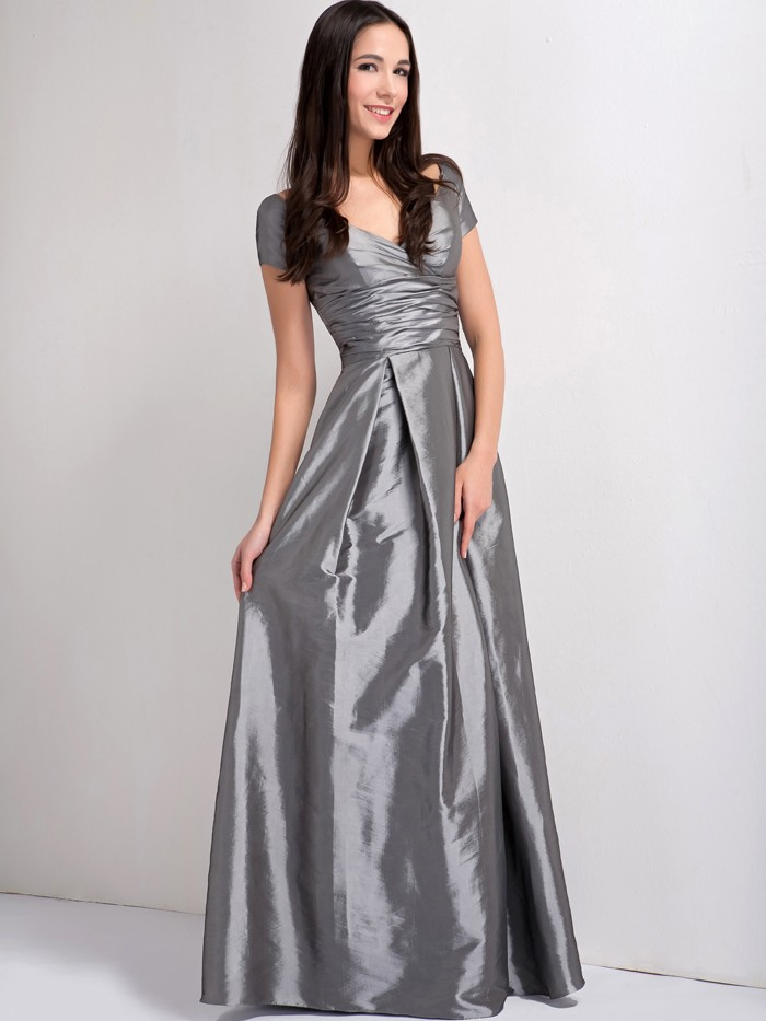 2f3cdff69e US $95.57 |2017 Chic Winter On Sale Prom Maxi Grey Long A Line Taffeta Off  The Shoulder Cap Sleeve Women Bridesmaid Dress For Wedding on ...