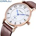 Часы CRRJU мужские  ультратонкие  с кожаным ремешком  кварцевые  модные  повседневные