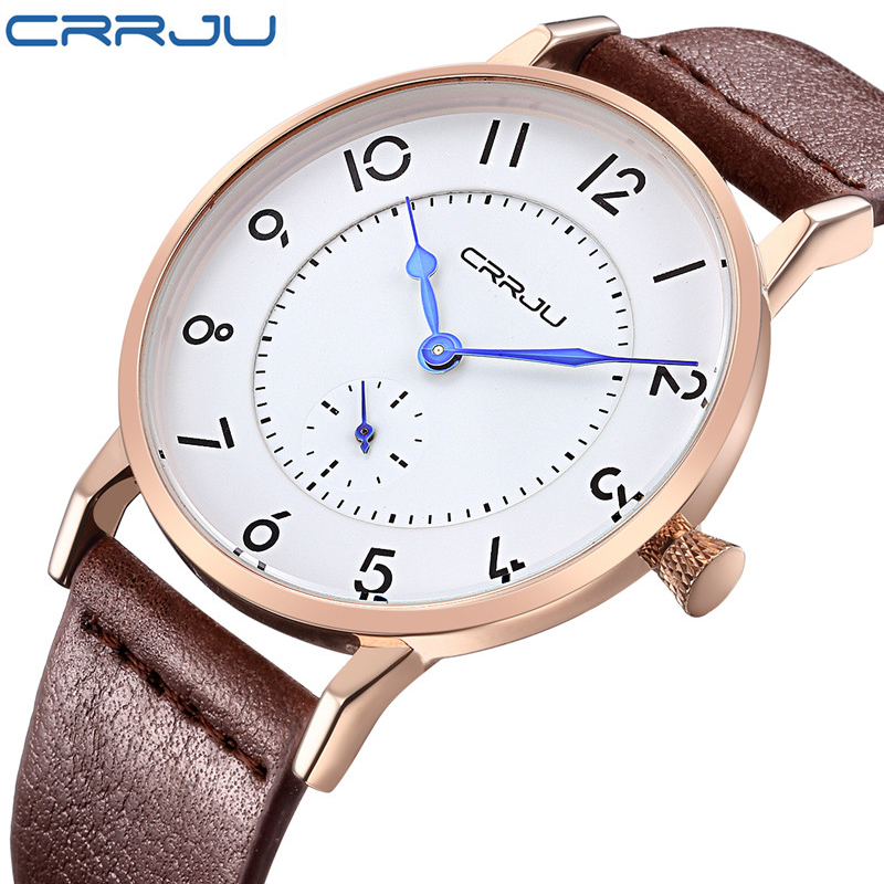 CRRJU New Top Luxury Watch Men Brand Men's Watches Ultra Thin Leather Strap Quartz Wristwatch Fashion casual watches relogio new top brand guou women watches luxury rhinestone ladies quartz watch casual fashion leather strap wristwatch relogio feminino