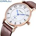 CRRJU Nuevos Hombres Del Reloj de Los Hombres de la Marca de Lujo Superior Relojes Ultra Delgada Correa de Cuero de Cuarzo Reloj de pulsera de Moda casual relojes relogio