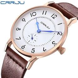 Crrju novo topo de luxo relógios masculinos marca ultra fino pulseira de couro quartzo relógio de pulso moda relógios casuais relogio