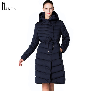 Image 1 - ASLTW Vrouwen Winter Jas Nieuwe Casual Mode Vrouwen Hoge kwaliteit Parka Jas Lange Met Capuchon Riem Merk Plus Size 4XL warme Jassen