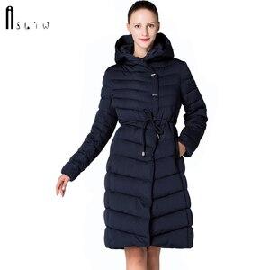 Image 1 - ASLTW femmes manteau dhiver nouveau mode décontracté femmes de haute qualité Parkas manteau Long avec ceinture à capuche marque Plus la taille 4XL vestes chaudes