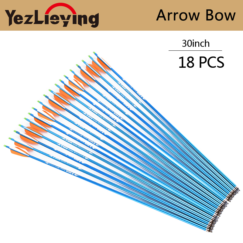 18pc 30inch target hunting spine 300 blue aluminum arrow with 2 orange 1 white feather replacement compound bow hunting