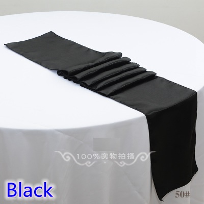 Black Colour Wedding Table Runner Decoration Satin Table Runner For Modern Party Home Hotel Banquet Decoration Wholesale