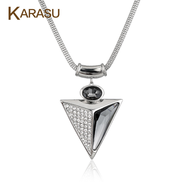 Vintage Real White Gold Filled Triangle Shape Crystal/Glass Pendant Short Chain Platinum Plated Necklace for Women Jewerly Gifts