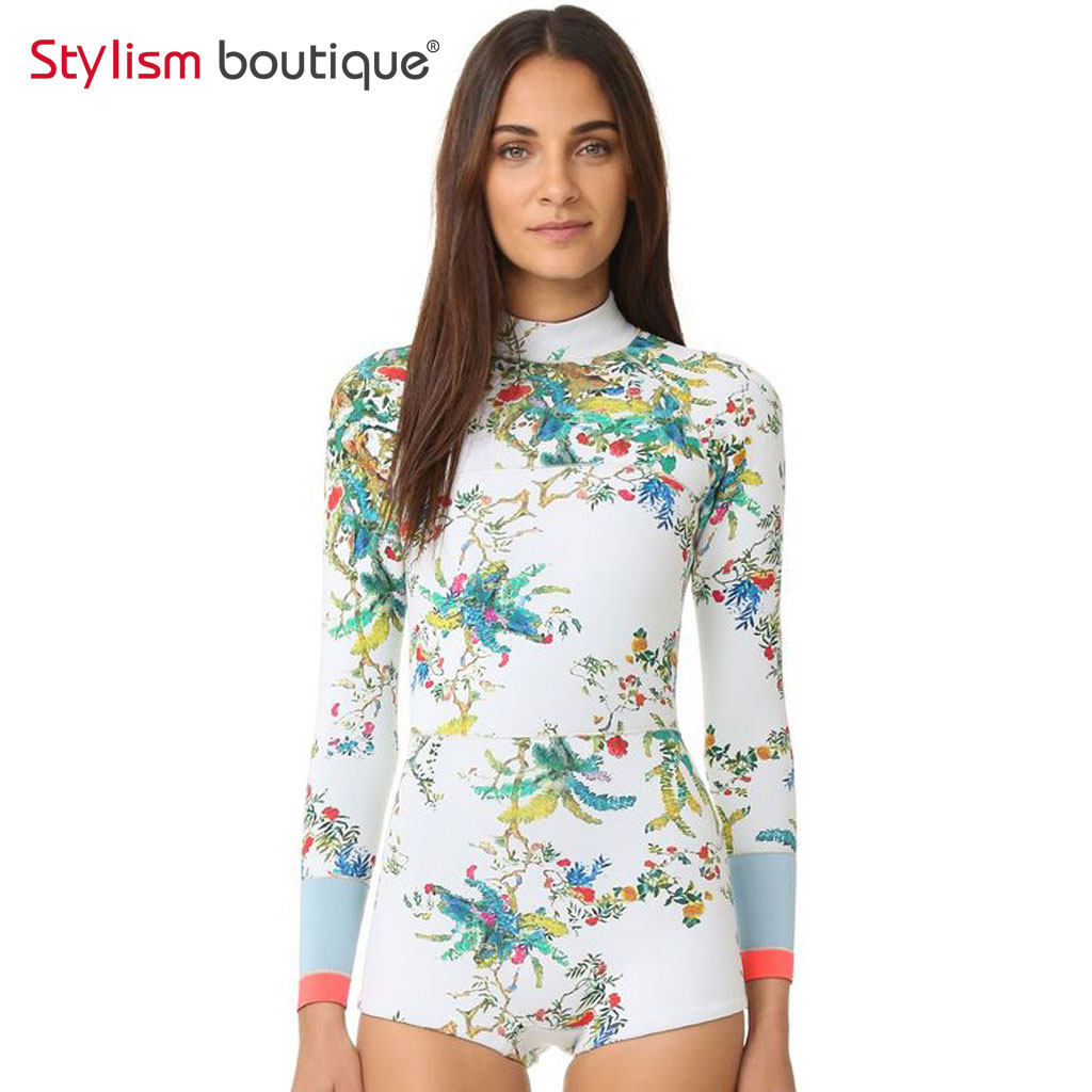 One Piece Swimsuit 2018 Floral Printed Rash Guard Surfing ...