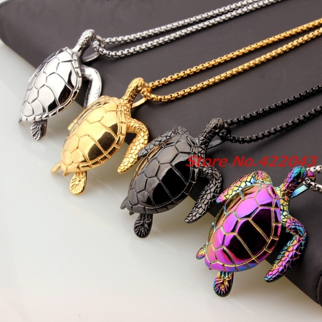New mens biker top quality sea turtle pendant 316l stainless steel new mens biker top quality sea turtle pendant 316l stainless steel boys necklace chain silver gold mozeypictures Images