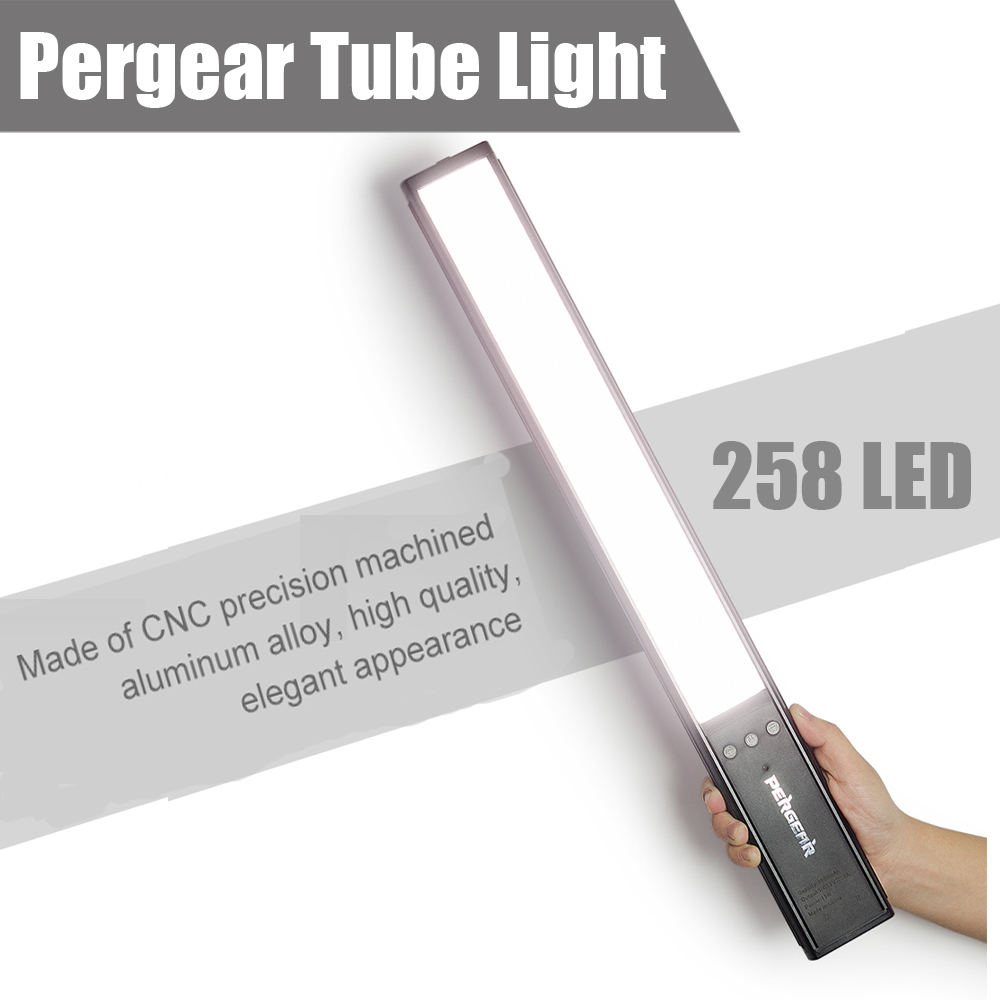Pergear 258 LED Video Tube Light  5600K with 1/4 Screw Hole 3 Color Filters (white, yellow, red) for Indoor Outdoor Shooting gimto brand dress women watches steel luxury rose gold bracelet wristwatch clock business quartz ladies watch relogio feminino