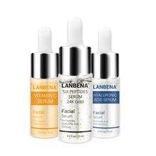 Lanbena vitamina c + seis peptides soro 24k ouro + ácido hialurônico anti envelhecimento rugas hidratante endurecimento clareamento cuidados com a pele