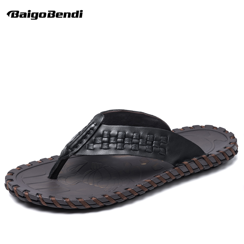 New Arrival Woven Leather Men Flip Flops T Strap Leisure Sandals Man Outdoor Summer Shoes