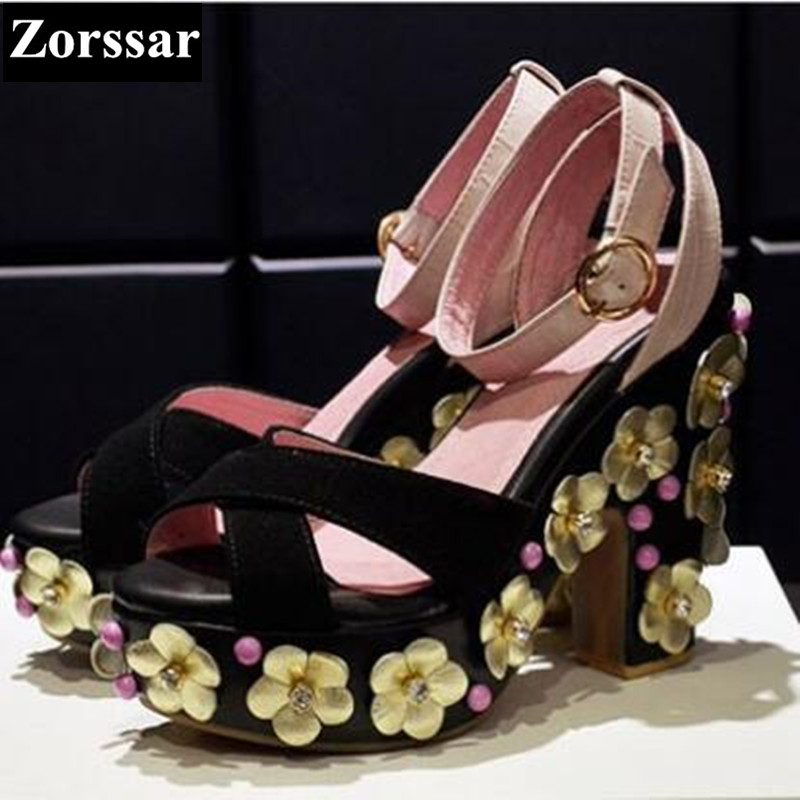 Summer Womens Shoes Luxury brand Sweet flowers High heels sandals 2017 NEW fashion Suede women pumps platform high quality plus size 2017 new summer suede women shoes pointed toe high heels sandals woman work shoes fashion flowers womens heels pumps